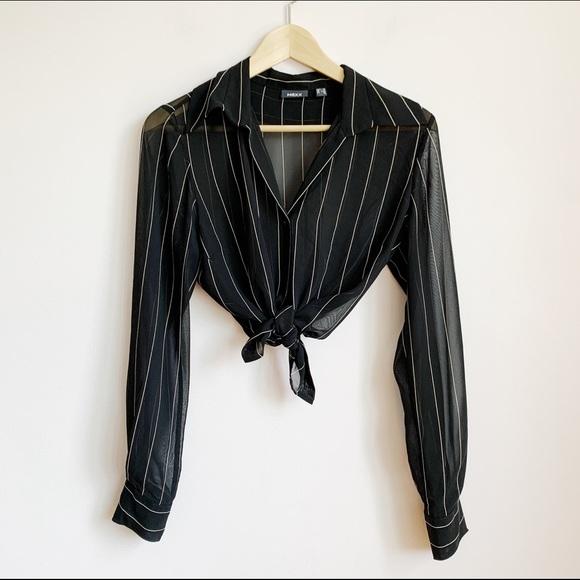 sheer black chiffon pinstripe button-up blouse